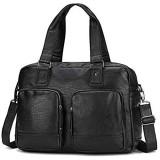 Mmamma Herren-Leder-Aktenkoffer Handtasche Retro Herren-Handtasche Große Kapazität im Reisetasche Herren Messenger Bag Tablet-Laptop-Tasche Herren Messenger Bag Umhängetasche (Farbe