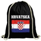 ShirtStreet Croatia Kroatien Fußball WM Fanfest Gruppen natur Turnbeutel Rucksack Gymsac Wappen Hrvatska