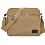 CHEREEKI Messenger Tasche Kuriertasche Umhängetasche Messenger Bag Unisex Casual Vintage Stoff Rucksack (Khaki)