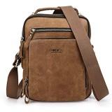 Contacts Echtes Leder Herren Klein Umhängetasche für 7.9 inch Laptop Tasche Tote Handtasche Messenger Tasche Handtasche (Braun)