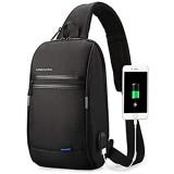 Kingsons Brusttasche Schultertasche für Männer Umhängetaschen mit Mit USB-Ladeloch Wasserdicht Anti-Diebstahl zum Radfahren Wandern Reisen Schwarz