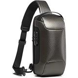 OZUKO Brusttasche Herren Umhängetaschen Anti-Diebstahl Sling Bag Crossbody-Rucksack Wasserdichte Schultertasche mit USB für Arbeit Reisen Wandern (Grau)
