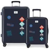 Pepe Jeans Paul Kofferset Blau 55/70 cms Hartschalen ABS TSA-Schloss 119.4L 4 Doppelräder Handgepäck