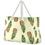Mnsruu Damen-Handtaschen Wasserfarben Ananas große Schultertasche Strandtasche Baumwollseil-Griffe