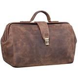 STILORD \'Percy\' Arzttasche Leder Vintage Arztkoffer Doktortasche Business Handtasche Hausbesuch Echtleder Farbe:mittel - braun
