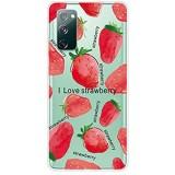 Nadoli Transparent Silikon Hülle für Samsung Galaxy S20 FE Durchsichtig Klar Lustig Kreativ Leicht Dünn Weiche Stoßfest Handyhülle Schutzhülle mit Rot Erdbeere Muster
