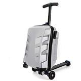21\'\' Hartschalen-Koffer Trolley Rollkoffer Reisekoffer Handgepäck 4 Rollen Rollergepäck Rollgepäckwagen 2 in 1 Gepäckrad faltbar (Silber)