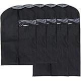 Kleid Kleidersack Atmungsaktiv Reise oder Aufbewahrung Anzug Tasche mit transparentem Fenster 5Stück 3mittel und 2große schwarz