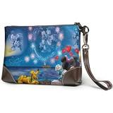 Clutch-Tasche aus Leder Motiv: Mickey und Minnie Maus für Handy Karten Geldbörsen Riemen Reißverschluss weiches Leder Handgelenk Clutch für Damen und Herren mit Schlitzen echtes Rindsleder