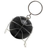 PRETYZOOM Silberne Basketball-Handtasche Strass Clutch Abend-Geldbörse Glitzer Glitzer Balltasche Sport-Stil Schulterkette für Damen Schwarz (Schwarz) - 05B24OE5KG146L