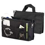 Xcase Taschenorganizer: Handtaschen-Organizer RFID-Schutz 13 Fächer 26 x 16 x 8 cm schwarz (Handtaschen Organizer klein)