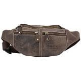 Wild's Herren Bauchtasche Vintage Leder Männer Hüfttasche Umhängetasche Sommertasche Leder Bauchtasche Gürteltasche Kängurutasche Ledertasche Umhängetasch (2506_Dunkelbraun)