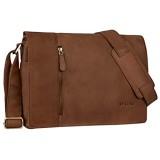 STILORD 'Till' Leder Umhängetasche 13 Zoll große Vintage Schultertasche für Herren Damen Laptoptasche DIN A4 Unitasche Bürotasche aus echtem Leder