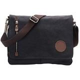 VRIKOO Vintage Canvas Satchel Messenger Bags Military Shoulder Crossbody Bag for Men Women (Black)