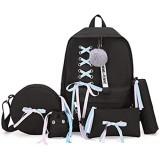 5pcs Schulranzen Mädchen Schulrucksack Rucksack Set Leinwand Schule Bookbag Ribbon Handtasche Leichte Umhängetasche Schultasche Taschen Mit Federmäppchen