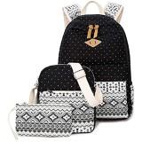 Canvas Rucksack Schultaschen Set for Teenager Mädchen Casual Daypack + Umhängetasche + Federmäppchen , Schulter Reiserucksack Laptop Messenger Bag (Color : Black)