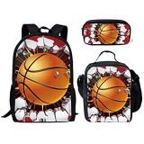 HUGS IDEA 3D-Basketball-Rucksack-Set mit isolierter Lunchtasche Federmäppchen für Kinder und Jungen