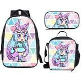Megan-Plays 3-teiliges Set Schulranzen Rucksack für Teenager Jungen Mädchen Reise Daypack und Lunchbox und Federmäppchen Kinder Laptop Rucksack