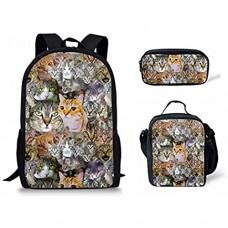 MODEGA 3-teiliges Set mit Kinder-Rucksack mit Cartoon-Muster Tagesrucksack Studenten Schultasche Lunchbox Federmäppchen Schöne Katzen (Gold) - MODEGA