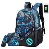 UNYU 3 Pieces School Bags Jungen Schultaschen-Set Blau blau One Size