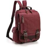 LOSMILE Vintage Rucksack Herren Damen Backpack Canvas Daypacks Rucksäcke herrentasche segeltuchtasche Messenger Bag für Arbeit und Schule. (Lila)