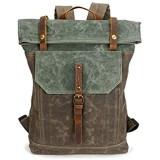YFbear Canvas Roll Top Rucksack Hochwertiger Wasserfester Backpack mit Rollverschluss – Praktischer Daypack Uni-Schulrucksack Laptoptasche für Damen und Herren Segeltuch Trekkingrucksäcke (Braun)