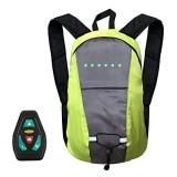 favourall 15L Ferngesteuerter Fahrrad-Rucksack mit Sicherheits-LED-Blinklicht USB wiederaufladbarer Fahrradrucksack Fahrradrucksack Outdoor-Sport Tagesrucksack für Nachtfahrten Sicherheit