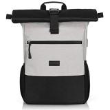 RJEU Rolltop Rucksack Herren Damen Schulrucksack Teenager Daypack mit 12-17 Zoll Laptopfach für Studium Arbeit Reisen Universität (Grau-26L)