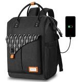 Rucksack Damen Laptop Rucksack für 15.6 Zoll Laptop Schulrucksack mit USB Ladeanschluss für Arbeit Wandern Reisen Camping für Mädchen Oxford 20-35L (H11-Black)