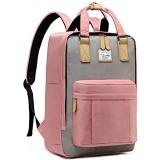 Schulrucksack Mädchen Teenager VASCHY Wasserabweisend 15 Zoll Laptop Schulranzen Vintage Rucksack für Damen Hochschule Schultasche Casual Daypack Reiserucksack(Rosa und Grau)