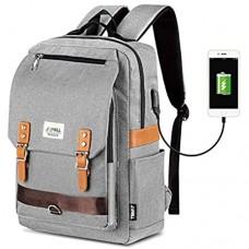 Unisex Vintage Rucksack College Tasche Passt bis zu 15 6 Zoll Laptop Mode Casual Rucksack wasserdichte Tagesrucksäcke für Schulreisen mit USB Aufladung (Grau)