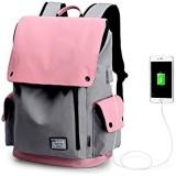 WindTook USB Anschluss Laptop Rucksack Damen Herren Daypack Schulrucksack für 15 6 Zoll Notebook Wasserabweisend 20L 30 x 17 x 45cm Rosa