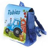 Kleiner Kinderrucksack Traktor in blau mit Name Bedruckt Ideal für Kita/Kindergarten Kindergartenrucksack