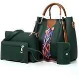 AlwaySky Frauen-Handtaschen-Set 4 in 1 Soft-PU-Leder Top Griff Tasche Tragetasche Schultertasche Crossbody Beutel-Geldbeutel-Set