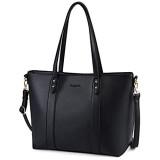 Bageek Handtasche Damen Schwarz Shopper Damen Groß Taschen Damen PU Leder Schwarzer Shopper Tasche Damen Schwarz Handtasche Für Büro Schule Einkauf