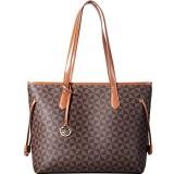 Lekesky Handtasche Damen Shopper Leder Groß Damen Tasche für Büro Schule Einkauf Braun