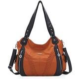 NICOLE & DORIS Weiche Kunstledertasche Lässige Hobo Tasche Damen Handtasche mit großer Kapazität Designer Umhängetasche Frauen Shopper Henkeltaschen Braun