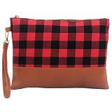 Auony Buffalo Plaid Wristlet Wallet Clutch Bag Phone Purse Handtasche mit Leder-Handschlaufe