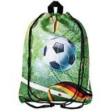 Aminata Kids Turnbeutel Kinder Junge Fussball-Motiv Kindergarten & Schule - Nylon reflektierend & wasserabweisend - Sportbeutel mit Ball-Motiv hat verstärkte Nähte und einen Brustclip