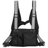 Deshunchang Front Rig Tasche Nylon Weste Rucksack Adjustable Außen Sport Schultertasche für Wandern Camping Schwarz