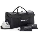 RR Sports - Sporttasche mit Schuhfach einzeln und als Set mit Edelstahl Trinkflasche und Microfaser Sporthandtuch in schwarz für Damen Herren und Kinder ideal für Sport- und Freizeitaktivitäten