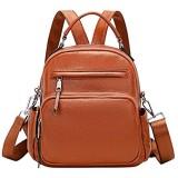 ALTOSY Kleiner Rucksack Handtasche Damen Echt Leder Universität Daypack Umhängetasche (S71 Braun)