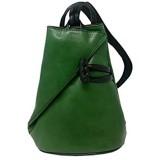 Damen Echtes Leder Rucksack Mit Träger Und Reißverschluss- Aniuk Farbe Grün - Italienische Lederwaren - Rucksack
