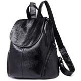 Damen Rucksack massives PU-Leder modisch wasserdicht große Kapazität lässiger Tagesrucksack Schultasche Free Size Schwarz