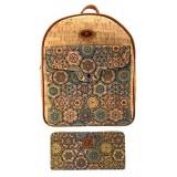 J.S ONDO Damen-Rucksack aus Kork 2 Stück handgefertigt Kork + Geldbörse mit Muster umweltfreundlich aus portugiesischem Kork