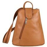 OBC Damen echt Leder Rucksack Schultertasche Stadtrucksack Backpack Handtasche Organizer Daypack Tablet bis ca. 8 Zoll Leder 22x23x12 Cognac