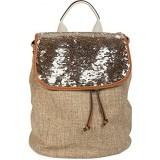 styleBREAKER Rucksack mit Pailletten besetztem Überschlag Leinen Optik Tasche Damen 02012155 Farbe:Braun