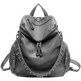 UTO Damen Backpack Purse 3 tragen PU gewascht Leder Niet besetzt Damen Rucksack Rücksack Schultertasche grau