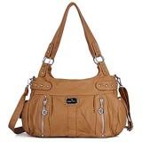 Angelkiss große Geldbörsen und Handtaschen für Damen gewaschenes Kunstleder Crossbody Hobo-Umhängetasche Schultertasche Handtasche