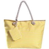 Große Strandtasche mit Reißverschluss 58 x 38 x 18 cm gestreift gelb weiß Shopper Schultertasche